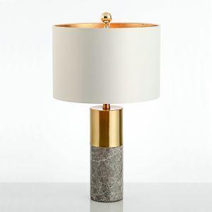Modern Simple Table Lamp Bedroom Study Room Table Lamp Iron Marble Fixture Fabric Desk Lamp