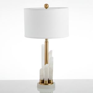 Contermporary Simple Table Lamp Bedroom Study Room Table Lamp Iron Dolomite Fixture Fabric Shade Desk Lamp