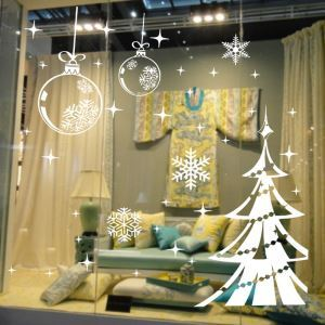 Modern Simple Christmas Wall Sticker Snowflake and Christmas Sitcker