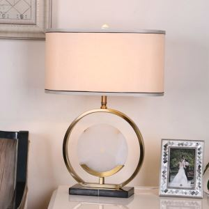 Contemporary Simple Table Lamp Bedroom Study Room Table Lamp Copper Jade Fixture Fabric Shade Desk Lamp