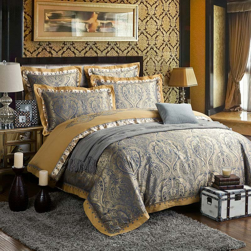 European Luxurious Bedding Set Retro Jacquard Bedclothes