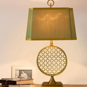 Contemporary Table Lamp Copper Fixture Fabric Shade Table Lamp Special Shape Desk Light