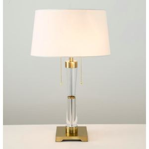 Contemporary Simple Table Lamp Suqare Base Table Lamp Iron Crystal Fixture Fabric Shade Desk Light with Drops