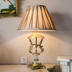 Contemporary Simple Table Lamp Special Copper Glass Fixture Fabric Shade Desk Light