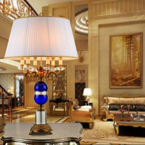 Contemporary Table Lamp Bedside Table Lamp Iron Crystal Fixture Fabirc Shade Desk Lamp
