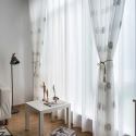 Nordic Simple Sheer Curtain Rural Leaves White Embroidery Sheer Curtain Bedroom Living Room Fabric (One Panel)