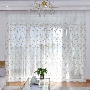 Nordic Simple Sheer Curtain Leaves Embroidery Sheer Curtain Bedroom Living Room Cotton-linen Fabric
