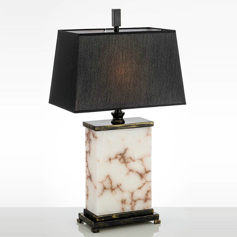Mordern Simple Talbe Lamp Iron Marble, Square Marble Base Table Lamp