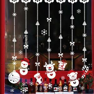 Modern Simple Christmas Wall Sticker Cute Snowman Window Sitcker