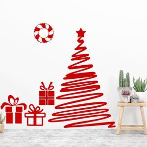 Contemporary Plain Wall Sticker Special Red Christmas Tree Window Sticker