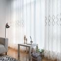 Modern Simple Sheer Curtain Geometry Jacquard Sheer Curtain Living Room Study Room Fabric (One Panel)