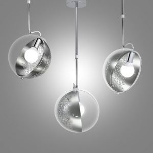 Modern Pendant Light Hollow Out Metal and Glass Ceiling Light 360° Shade Rotating Planet H