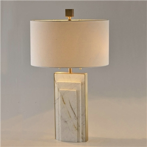 Contemporary Simple Table Lamp Copper Marble Table Lamp Column Shade Desk Light