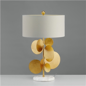 Contemporary Simple Table Lamp Iron Fixture Fabric Shade Bedside Living Room Desk Light