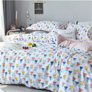 Cartoon Tulip Printing Bedding Set Rural Fresh Bedclothes Pure Cotton 4pcs Duvet Cover Set