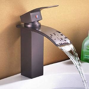 Antique Oil Rubbed Bronze Waterfall Painting Finish Bathroom Sink Faucet