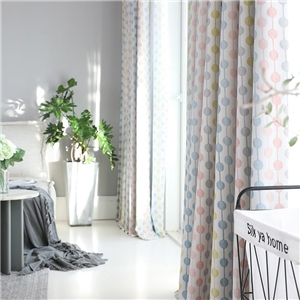 Modern Simple Curtain Unique Beed Strings Printing Curtain Blackout Kid's Room Fabric