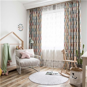 Modern Cartoon Curtain Cute Owl Printing Curtain Soft Blackout Kid's Room Fabric