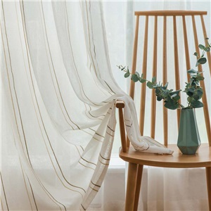 Japanese Simple Sheer Curtain Linen Stripes Jacquard Sheer Curtain Bedroom Living Room Fabric