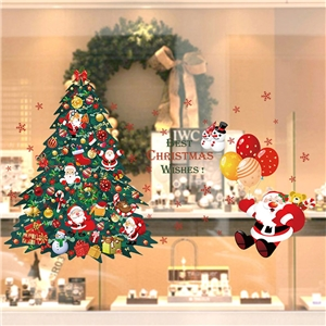 Contemporary Plain Wall Sticker Removable Christmas Theme Window Sticker Waterproof PVC Sticker Christmas Tree Santa Claus Ballon Pattern