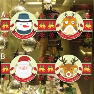 Contemporary Plain Wall Sticker Removable Christmas Theme Window Sticker Waterproof PVC Sticker Snowman Elk Santa Claus Owl Pattern