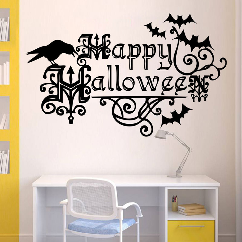 Crow And Bat Wall Sticker Theme Waterproof Removeable