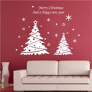 Contemporary Plain Wall Sticker Removable Christmas Tree Window Sticker Waterproof PVC Sticker