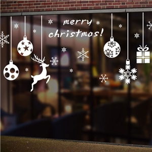 Contemporary Plain Wall Sticker Removable Christmas Snowman Wall Sticker Waterproof PVC Christmas Tree Window Sticker
