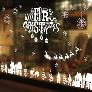 Contemporary Plain Wall Sticker Removable Christmas Wall Sticker Waterproof PVC Merry Christmas Letter Window Sticker