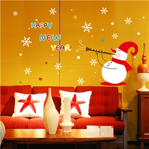 Contemporary Plain Wall Sticker Removable Christmas Snowman Wall Sticker Waterproof PVC Happy New Year Window Sticker