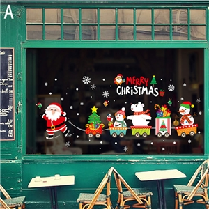 Contemporary Simple Santa Claus Wall Sticker Removable Plain Snowman Wall Sticker Waterproof PVC Christmas Gift Window Sticker