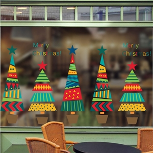 Contemporary Plain Wall Sticker Removable Christmas Wall Sticker Waterproof PVC Colorful Christmas Tree Window Sticker