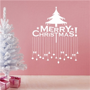 Contemporary Plain Wall Sticker Removable Christmas Wall Sticker Waterproof PVC Merry Christmas Window Sticker
