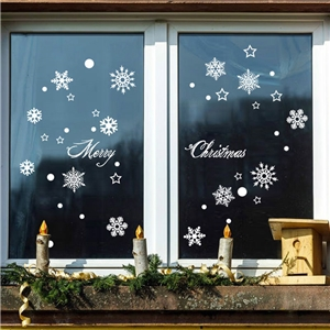 Contemporary Plain Wall Sticker Removable Christmas Wall Sticker Waterproof PVC White Snowflake Window Sticker