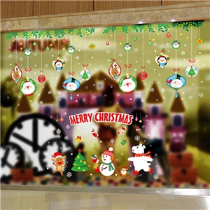 Contemporary Plain Wall Sticker Removable Christmas Wall Sticker Waterproof PVC Christmas Tree Snowman Window Sticker