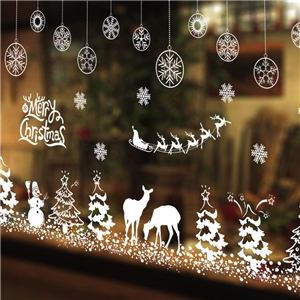 Contemporary Plain Wall Sticker Removable Christmas Wall Sticker Waterproof PVC White Snowflake Snowman Window Sticker