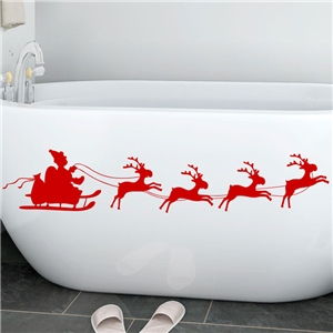 Contemporary Plain Wall Sticker Removable Christmas Wall Sticker Waterproof PVC Running Elk Santa Claus Window Sticker