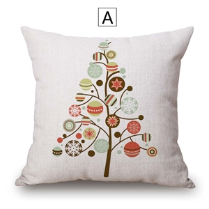 Modern Simple Pillow Cover Christmas Tree Printing Cotton Linen Pillow Case