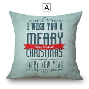 Creative Simple Pillow Cover Christmas Theme Cotton Linen Pillow Case Happy Theme