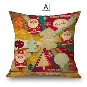 Fashional Cute Pillow Cover Christmas Theme Cotton Linen Pillow Case Cute Santa Claus Christmas Tree Pattern
