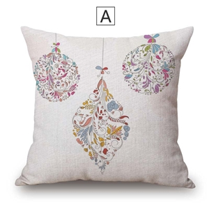 Nordic Simple Pillow Cover Christmas Theme Linen Pillow Case Colorful Leaves Pattern