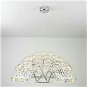 Contemporary Simple LED Pendant Light Hollow Stainless Steel Dome Shade LED Pendant Light Living Room Bedroom Light
