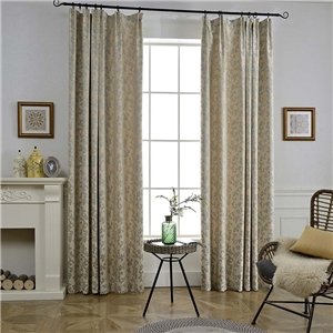 Japanese Simple Curtain Branch and Leaves Jacquard Curtain Beige Bedroom Living Room Fabric