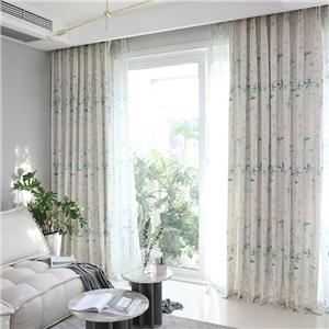 Japanese Graceful Curtain Cherry Blossom Printing Curtain Bedroom Living Room Semi Blackour Fabric
