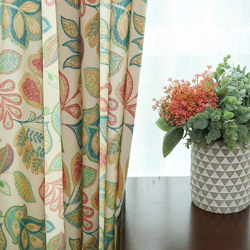 American Retro Curtain Abstract Flower