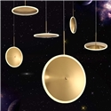 Nordic Simple Pendant Light Golden Flying Saucer Shape LED Pendant Light Horizontal/Vertical Type