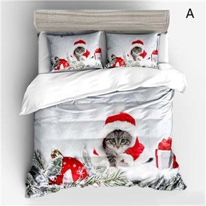 Simple Cute Bedding Set Christmas Theme Cat 3D Digital Printing Bedclothes Soft 4pcs Duvet Cover Set