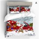 Cute Simple Bedding Set Christmas Theme Santa Claus Printing Bedclothes Soft Breathable 4pcs Duvet Cover Set