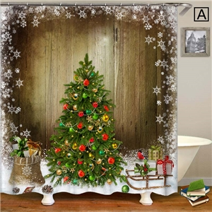 3D Printed Shower Curtain Nordic Simple Christmas Tree Shower Curtain Waterproof Mouldproof Bathroom Curtain