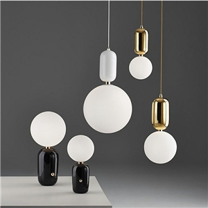 Nordic Modern Metal Frosted Glass Light Modern Minimalist Creative Study Room Bedroom Bar Pendant Light Single Light 3 Options
